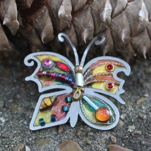 [5/$25] Silver Colorful Artsy Butterfly Brooch